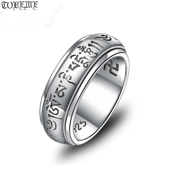 NEW 100% 925 Silver Tibetan OM Mantra Ring Buddhist OM Mani Padme Hum Ring Tibetan Spinning Ring GOOD LUCK JEWELRY