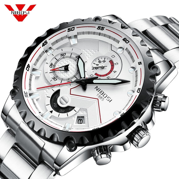 NIBOSI Silver Watch Men Waterproof Quartz Wristwatches Relogio Masculino Sport Watch Fashion Casual Clock Stainless Steel Clock