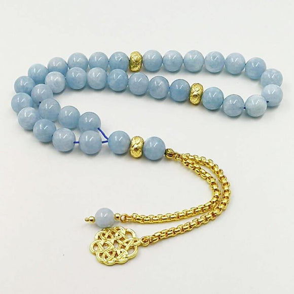 Natural Aquamarines stone New Style tasbih Bracelets Man's misbaha Special islam Gift for muslim 33 45 66 99 gold prayer beads