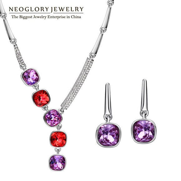 Neoglory Brand Indian Jewelry Sets Necklace Earrings Luxurious Birthday Gifts 2020 New Embellished with Crystals from Swarovski