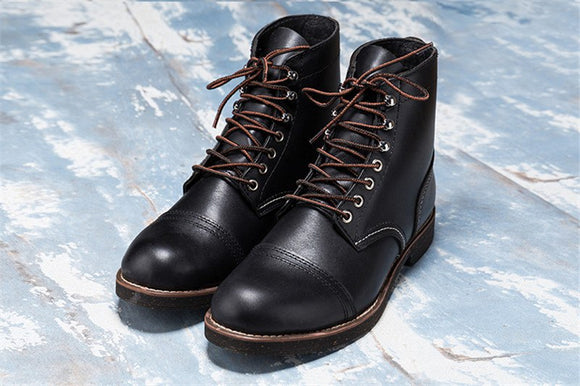 New 2019 Autumn Winter Cowhide Round Toe Wings Men Genuine Leather Ankle Boots Vintage Tooling Combat Motorcycle Boots Black