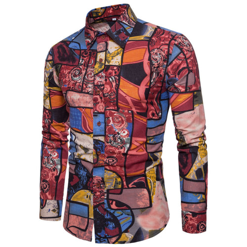 New 2019 Men's Boutique Linen Fashion Printing Casual Long-sleeved Shirts Large Size 4XL 5XL Comfortable Breathable Men's Shirts