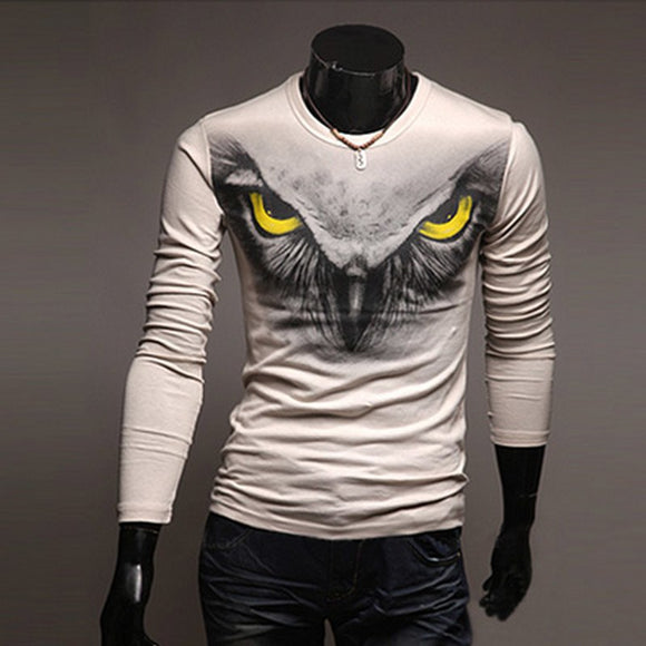 New 2019 Spring Autumn Slim England Style Crossfit Owls Printed Contrast t shirts fitness off white long sleeve O-Neck T-shirt