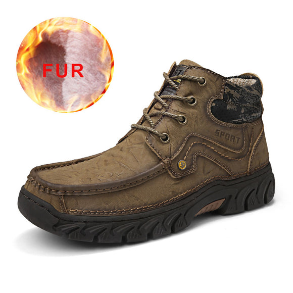 New 2019 Winter Men Boots Genuine Leather Breathable Warm Snow Boots With Fur Waterproof High Tops Ankle Shoes Large Sizes 48
