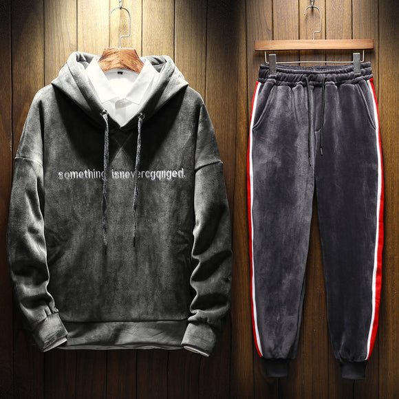 New 2019 Winter Mens Hoodies Clothing Plus Trousers with Two Hooded Warm Boys' Sports Leisure Suits Sweatshirts Men