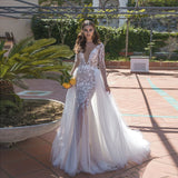 New Arrival Fashion Mermaid Bridal Gowns Exquisite Appliques Detachable Train Wedding Gowns Long Sleeves 2019 Vestido de noiva