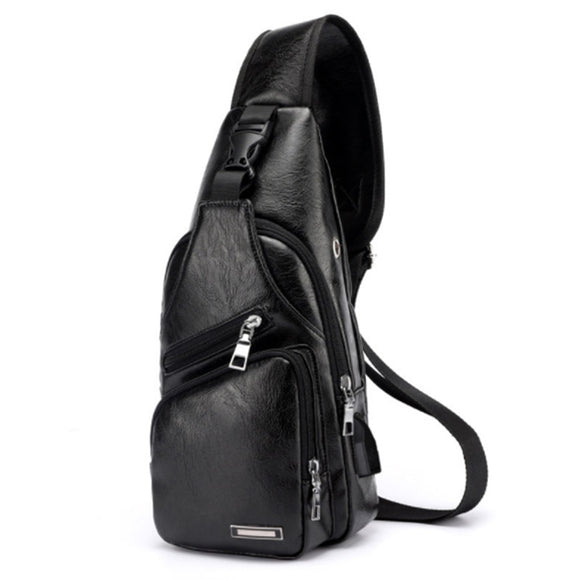 New Arrival Men's USB Charging Chest Bags Men Messengers Bag Wateproof PU leather Crossbody Shoulder bags  free shipping