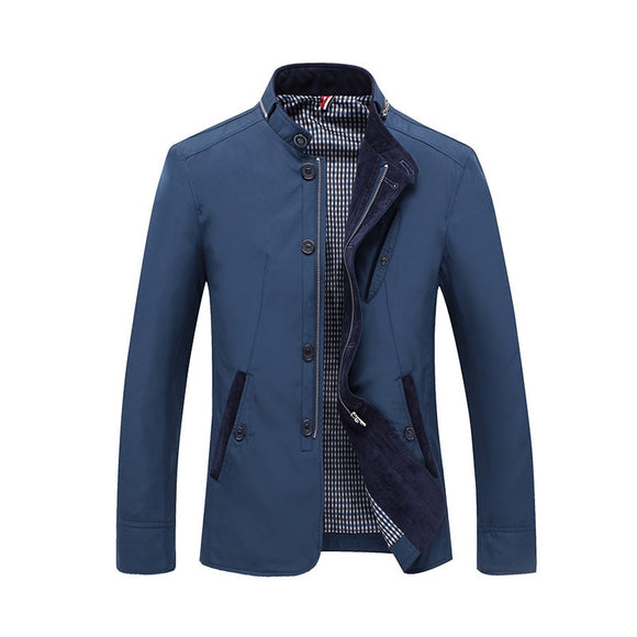 New Arrival Spring Autumn Men Casual Jacket Business Stand Collar Outwear Men Coat Size L-4XL