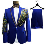 New Designs Big Sizes Men Suit Set ( Jacket + Pants ) Fashion Embroidered Male Singer Slim Performance Party Prom Costume Homme