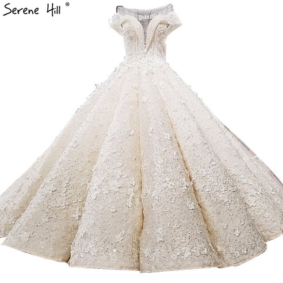 New Extreme Luxury Sleeveless Sexy Wedding Dresses 2019 Sequined Flowers High-end Princess With Train Bridal Gown