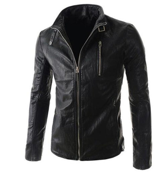 New Motorcycle Jackets Men PU Leather Jacket Vintage Retro Zipper Hooded Biker Punk Classical Slim Windproof Moto Jacket