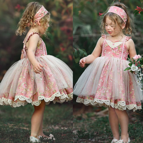New Summer Princess Kid Baby Pink Flower Girls Dress Lace Floral Ball Gown Tutu Tulle Birthday Party Girls Sleeveless Dress 0-5Y