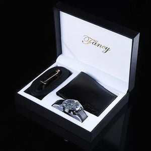New Watch Men Top Brand Luxury Gift Set Watch Wallet Belt For Father's Day Gift Set Valentine's Day Gift With Box Relojes