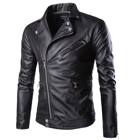 New motorcycle PU leather male personality zipper leather jacket,fashion youth cycling jacket large size solid color jacket male