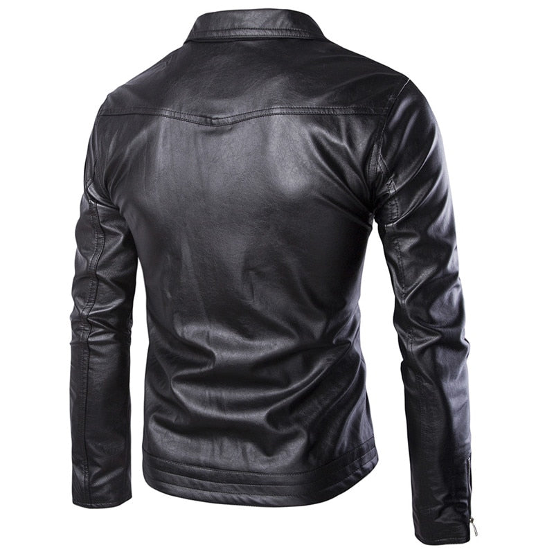 a1087bbfd New motorcycle PU leather male personality zipper leather jacket ...