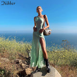 Nibber Beach leisure vacation long dresses womens summer party night sexy see-through Solid stretch Slim Strapless dresses mujer