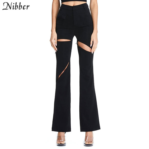 Nibber spring fashion Hollow design Flare Pants women high street office ladies Casual pantalones mujer Solid color Slim pants