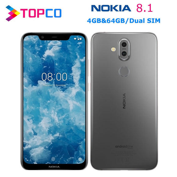 Nokia 8.1 Original Android Mobile Phone Octa Core 4G LTE 6.18'' 4GB RAM 64GB ROM Dual SIM 20MP Dual Rear Cameras NFC Fingerprint