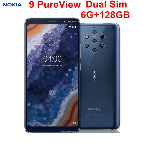 Nokia 9 Pureview 6GB RAM 128GB ROM Dual Sim Android Mobile Phone LTE 5.99'' 6 Camera Octa Core Fingerprint Snapdragon 845 NFC