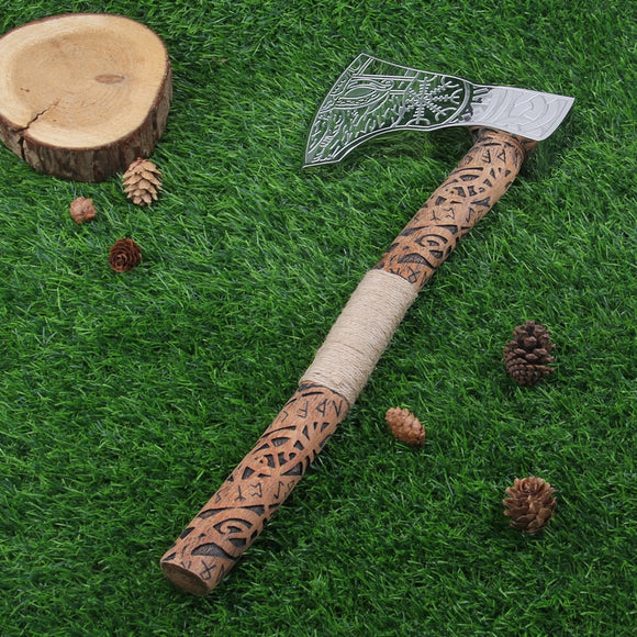 Nordic Vikings Pirates rune wood handle with stainless steel ax