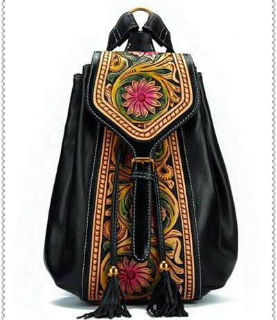 Nuleez genuine cow leather backpack Chinese classic Tangcao carving high quality and luxury bag unique for 2018