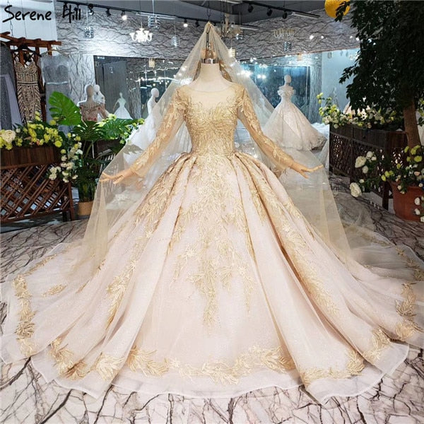 O Neck Handmade Flowers Vintage Wedding Dresses 2019 Luxury Long Sleeve Sexy Bride Gowns Real Photo Custom Made