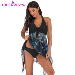 OHDREAM Plus Size Swimwear 5XL Women Two Pieces Swimsuit Skirt With Thong Sexy Tankini Bathing Suit Female Big beachwear Dress