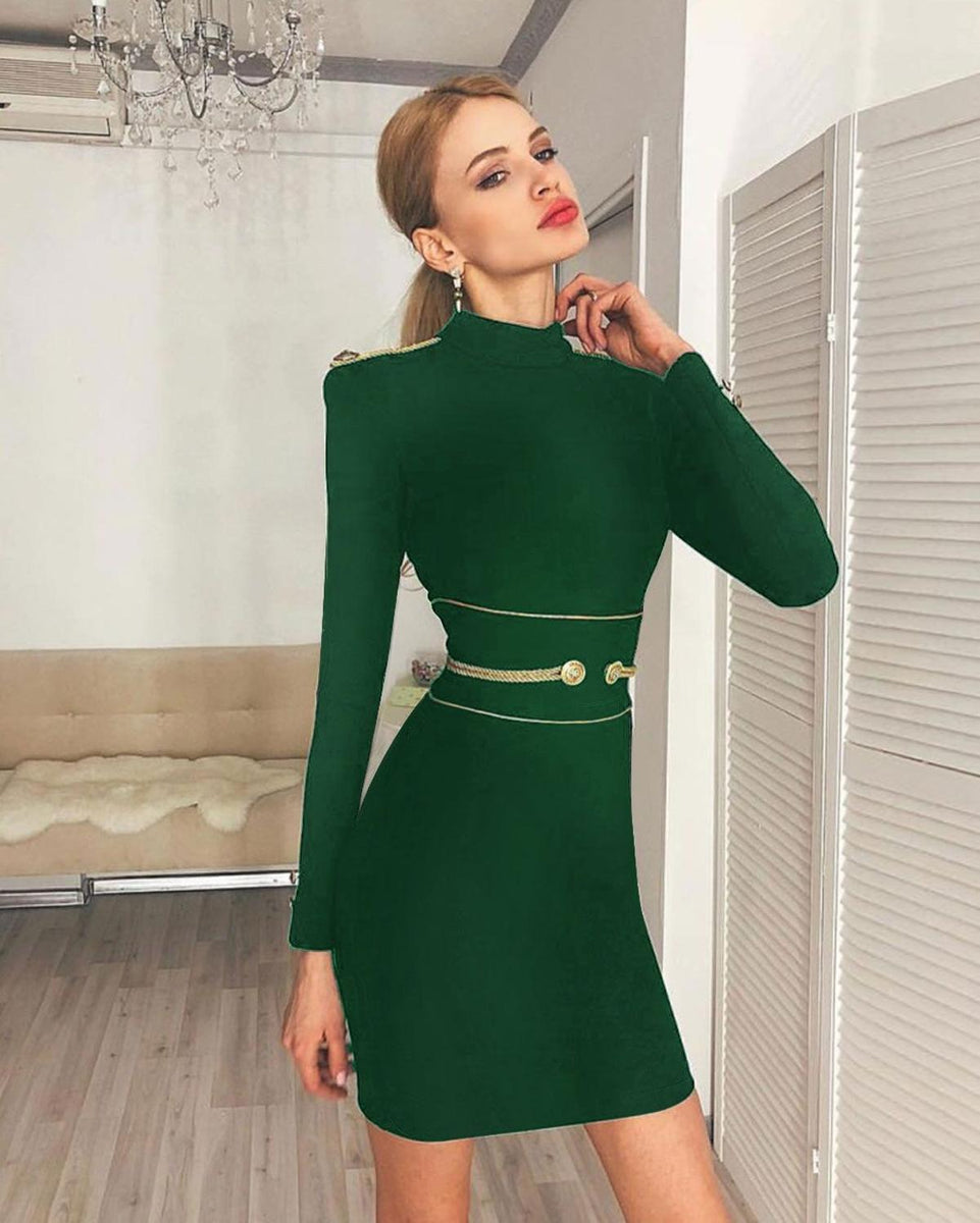 2b2af107a1d62 Ocstrade Christmas Party Sexy Bandage Dress Winter 2019 New Arrivals Green  High Neck Women Long Sleeve Bandage Dress Bodycon