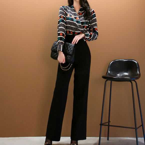 Office Lady 2 Piece Set Women Printed V-Neck Long Sleeve Shirt Top+Black High Waist Full Length Pant Suits Elegant Outfits 2019