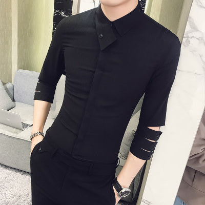 Personality Hollow 3/4 Sleeve Shirt Men Summer Brand Designer Slim Fit Solid Dress Shirts Mens Casual Tuxedo Shirt Male Hot Sale