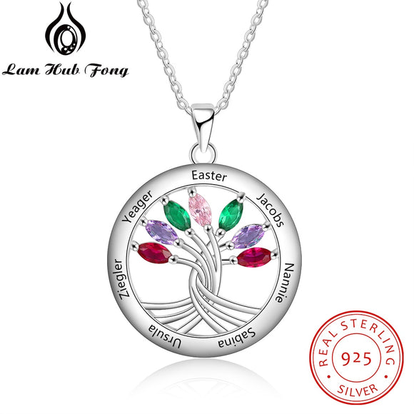Personalized Family Tree Pendant Necklace with 7 Birthstones 925 Sterling Silver Engrave Name Necklace for Family (Lam Hub Fong)