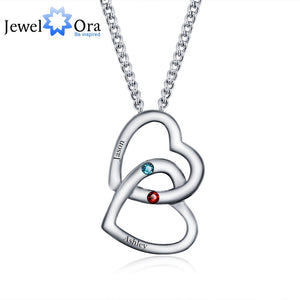 Personalized Pendants Necklaces Birthstone Merging Hearts 925 Sterling Silver Necklaces & Pendants (JewelOra NE101235)