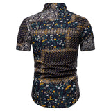 Plus size 4XL 5XL Camisa Social Shirt Floral Print Blouse Men Short Sleeve Linen Shirts Men Flower Hawaiian style Fashion New
