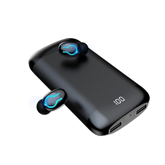 Q66 Wireless V5.0 Bluetooth Earphone HD Stereo Headphone Sports Waterproof Headset With Dual Mic and 6000mAh Battery Charge Case