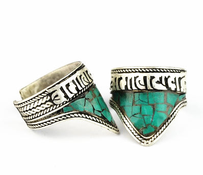 R041 Tibetan Mantras Amulet Rings for Man Copper Inlaid Stone Triangle Open  Ring