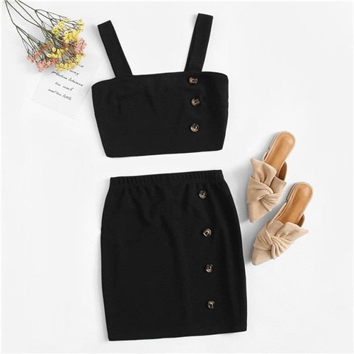 211cfc84b ROMWE Black Wide Straps Crop Tops With Mini Skirt Women Sets Summer  Buttoned Detail Vest And