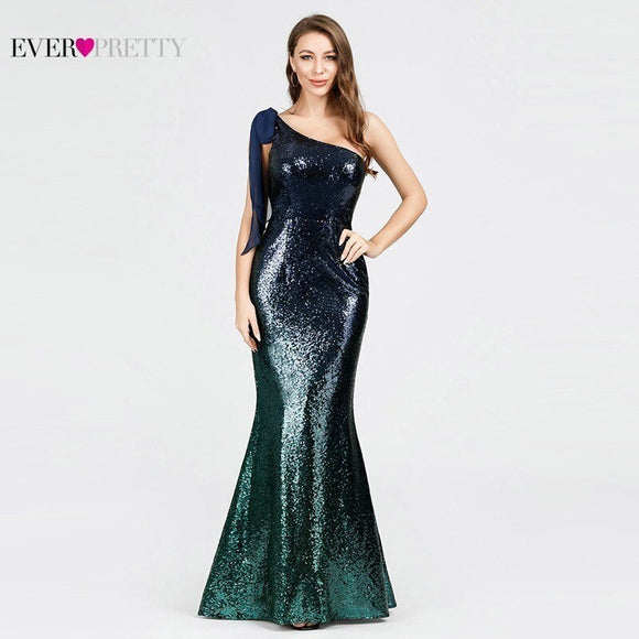Evening Dresses Sequined Long Never Pretty EP07336 Mermaid One Shoulder Sleeveless Sexy Bodycon Abiye Dresses Elegant Evening Dresses