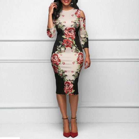 Rose Floral Print Dress Women Elegant Hollow Out Shoulder C Dresses Summer Sexy Party Plus Size White Vestidos De Festa