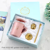 Royal Ceramic Coffee Mug Milk Cup Golden Handle Spoon  For Party Trucker Husband Boyfriend Girlfriend Valentine's Day Gift Box