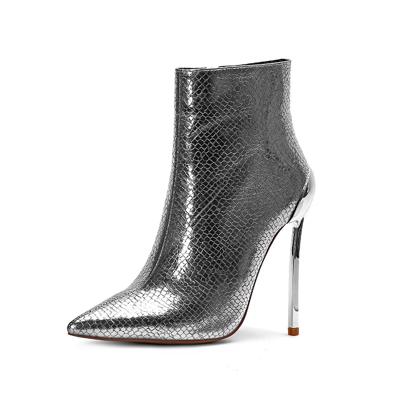 d6a5db12e0a5 ... Rxemzg 2019 new blue women ankle boots pointed toe metal high heel boots  snake pattern women ...