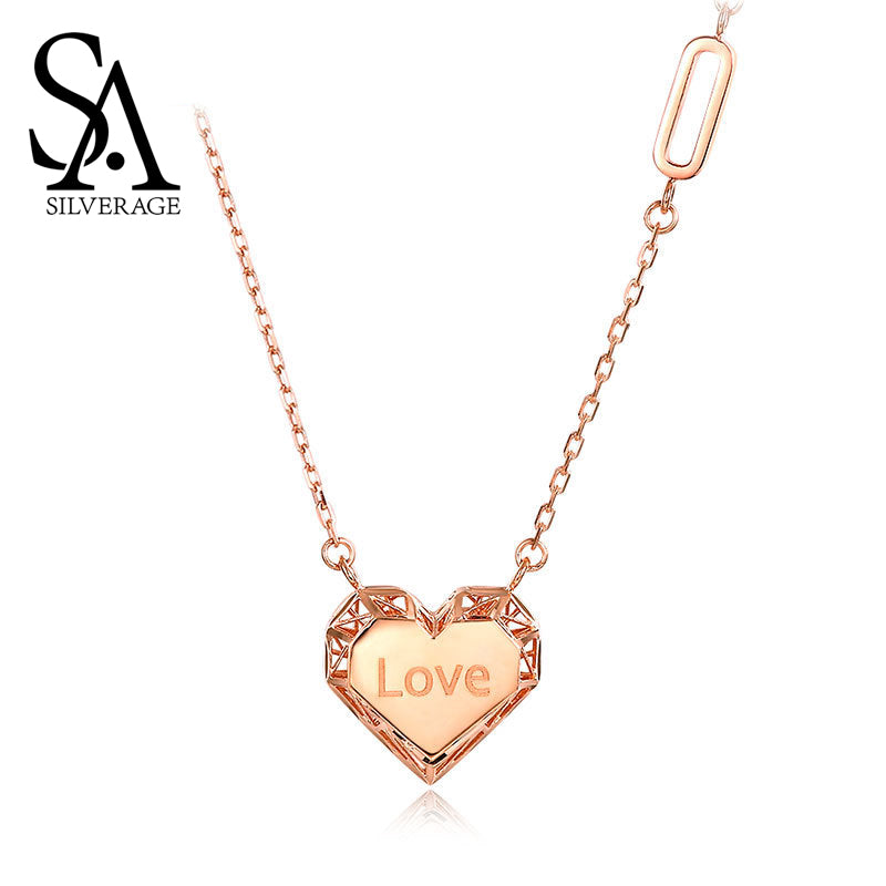 Sa Silverage Heart Love Pendant Necklaces 18k Rose Gold Woman