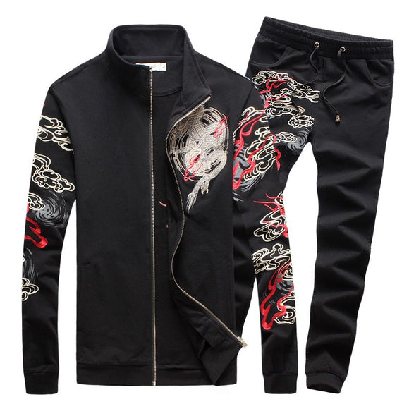 SHAN BAO 2018 New Fashion Mens Sets Chinese Style Dragon Print Mens Sportswear High Quality Mens Clothing Sets Suits For Men 5XL
