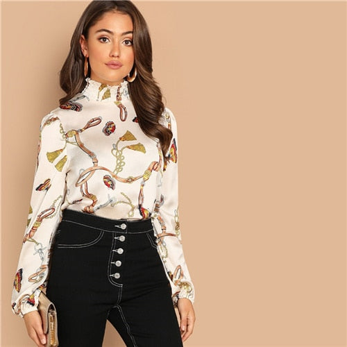 SHEIN Bishop Sleeve Mixed Print Mock-Neck Multicolor Top Stand Collar Long Sleeve Blouse Women 2019 Autumn Tops and Blouses