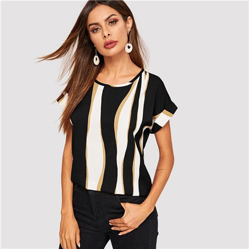 e404fca620b04 SHEIN Cuffed Sleeve Color Block Top 2019 Elegant Round Neck Roll Up Sleeve  Blouse Chic Summer