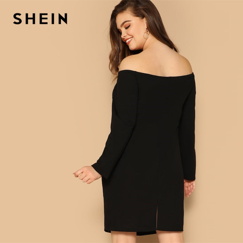 c00fb013d8 ... SHEIN Double Breasted Off Shoulder Knee Length Sheath Dress Black Plus  Size Highstreet Women Summer Office ...