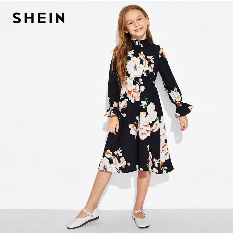 7f2d3d4a64d ... SHEIN Girls Black Floral Print Stand Collar Elegant Dress Kids Clothing  2019 Spring Korean Long Sleeve