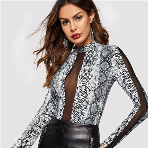 SHEIN Highstreet Grey Contrast Mesh Snake Pattern Stand Collar Long Sleeve Tee 2018 Autumn Casual Women Modern Lady Tshirt Top