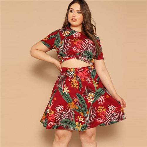 cc3d7d03e5 SHEIN Plus Multicolor Palm Leaf Print Top And Circle Skirt Set Short Sleeve  Co-Ord ...