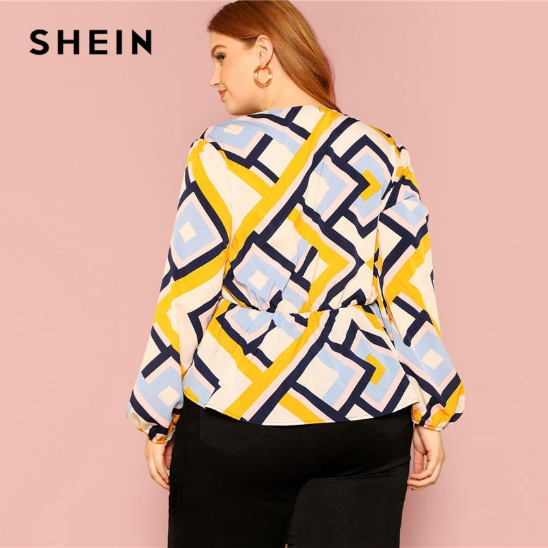 e938d73445 ... SHEIN Plus Size Deep V-Neck Bow Front Geometric Print Peplum Shirt  Blouse Women Spring ...