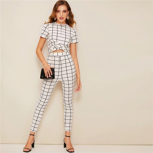 6636c21f7 SHEIN Twist Front Grid Crop Top And Skinny Pants Matching Set Women  Clothing Spring Elegant Short